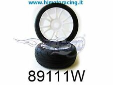 89111W RUOTE COMPLETE CERCHI BIANCHI WHITE TYRE AND RIM 1:8 ON ROAD HIMOTO 2PZ