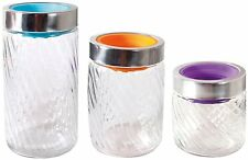 6 Pc Glass Canister Jars - Cookie Jars Swirl Design Set w/ Colored Lids