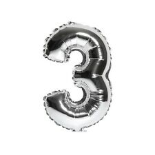 """40"""" Metallic Silver Glossy Three Year Old Birthday Party Number 3 Float Balloon"""