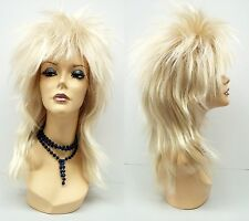 Blond Punk Rock Wig Long Straight Synthetic Spiky David Bowie Costume Rocker 17""