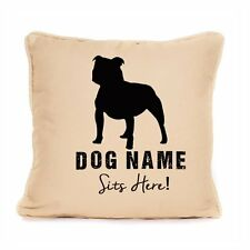 Personalised Cushion Staffordshire Bull Terrier Sits Here Dog Lover Gift Large