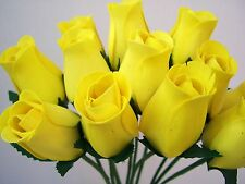 100 YELLOW WOODEN ROSES WHOLESALE ARTIFICIAL FLOWERS WEDDINGS CRAFTS HOME DECOR