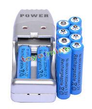 10X Batería recargable AAA 3A 1800mAh 1.2V NiMH azul + USB Cargador