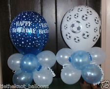 2 X BALLOON TABLE DECORATIONS DISPLAYS BOYS BIRTHDAY PARTY FOOTBALL SOCCER BLUE