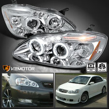 2003-2008 Toyota Corolla Dual Halo+LED Projector Headlights Left+Right