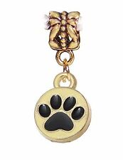 Dog Paw Print Protect Rescue Shelter Gold Charm Dangle for European Bracelet