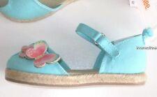 Gymboree Butterfly Catcher Shoes Size 7 Blue Canvas Espadrille Girls New