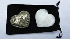 """Pair of Crystal Hearts - 1 Selenite 1 Pyrite - 2 3/4"""" Each - Gift Packaged"""