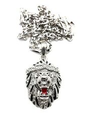 "New Iced Out LION FACE Hip Hop Pendant & 5mm/24"" Figaro Chain Necklace MSP312"