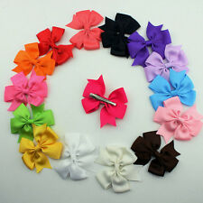 10X Large Big 3Inch Girls Baby Hair Bow Clips Grosgrain Ribbon Boutique Bowknot