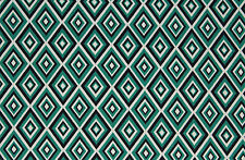 Poly Scuba Geometric Diamonds Print Dress Fabric Material (Emerald/Black/Cream)