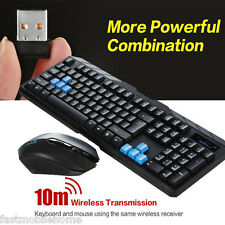 New Optical Desktop Wireless Gaming Mouse and Keyboard USB Receiver Kit