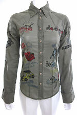 Rare Desigual Women's Embroidered  Long Sleeve Shirt  Size 36