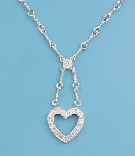 Heart Necklace with Clear Cubic Zirconia Sterling Silver 925 Jewelry 17 inches