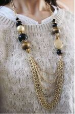 "30"" GOLD TONE MULTI-CHAIN DROP CHUNKY BEAD SWEATER NECKLACE"