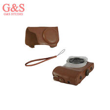 brown Pu Leather Camera Case Cover Bag for Samsung Galaxy EK-GC100 GC100 +strap