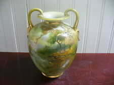 Vintage Nippon hand Painted Porcelain Trees by the Lake Motif Handled Vase