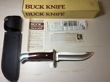 1987 Buck USA model 124 FRONTIERSMAN Fixed Blade Rosewood Handle Knife MINT