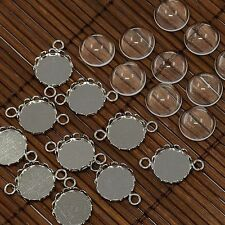 10Set Clear Dome Magnifying Glass Cabochon Cover Flat Round DIY Photo Brass Link