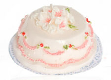 Dollhouse Miniature Cake White with Pink Flowers Falcon Minis 1:12 Scale