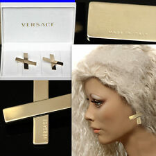 GIANNI VERSACE Ladies GOLD LOGO EARRINGS w/ Box