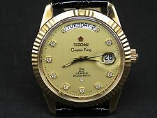 VINTAGE TITONI COSMO KING 2834-2 25J GOLD PLATED SWISS DAY DATE AUTO MENS WATCH
