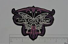 Live Love Ride Club Harley Biker Funny Motorcycle Iron On Small Patch