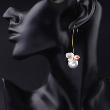 Shell Flower And Faux Pearl Swirl Hooked Threader Through Earrings Gold Tone