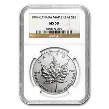 1998 1 oz Silver Canadian Maple Leaf Coin - MS-68 NGC - SKU #81755