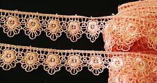 Very pretty Peach color  floral embroidered lace trim - price for 1 yard