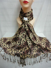 LEOPARD PRINT PATTERN LIGHT WEIGHT WRAP OR SCARF COLOR BROWN