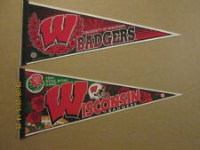 NCAA Wisconsin Badgers Vintage Lot of 2 Logo Pennants