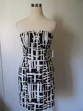 Charlotte Russe Black/White Print Padded Bust Back Zip Abov Knee Dress NWT SZ: M