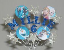 Disney Frozen Cumpleaños Pastel con decoración de cualquier edad + Nombre 4 5 6 7 Y 8