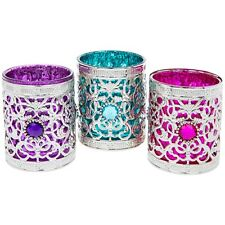 3 Small Beautiful Moroccan Tea Light Candle Holders Lanterns Morocco Ornaments