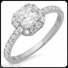 Rachel 1.50CT PRINCESS Diamond Solid 14K White GOLD Engagement Wedding Halo Ring