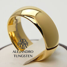Tungsten Ring Wedding Anniversary Comfort Band 8MM Fancy Gold Dsg Size 7