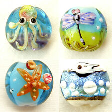 4pcs Murano Lampwork Glass Pendant Necklace Bead Charm Handcraft Dragonfly Green