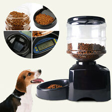 5.5L Black Automatic Pet Feeder Food Dish Bowl Dispenser LCD Display Dog Cat