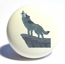 HOWLING WOLF CERAMIC KNOB DRAWER CABINET PULL