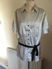 CREAM AND BLACK POLKA DOT SATIN EFFECT BLOUSE SIZE 20 (M&S)