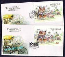 2004 Malaysia Traditional Transportation 2 Mini-Sheets on 2 FDC