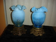 Fenton BLUE Opalescent hobnail vase lamp (1-2)  DUTCH AUCTION