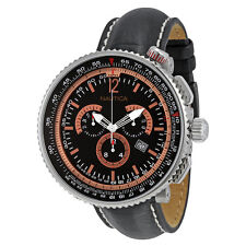 Nautica Chronograph Black and Rose Gold Dial Black Leather Watch A37505G
