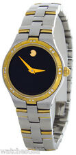New Movado Women's Black Dial Two-Tone Bangle Bracelet Watch
