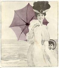 MARCELLO DUDOVICH MAGNIFICA STAMPA VINTAGE LIBERTY  1906 DONNINA CON OMBRELLINO