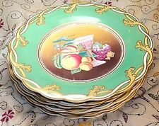 SIX 19TH CENTURY ENGLISH OPAQUE PORCELAIN PLATES ~GREEN & GILT FRUIT PAINTING~