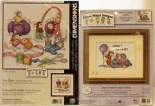 Dimensions Counted Cross Stitch Kits Mouse House Sweet Dreams + Sew Busy Mice