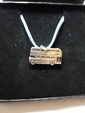 """Double Decker Bus Fine English Pewter On a 18"""" Blue Cord Necklace codew28"""