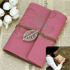 Vintage Leaf Wine Red PU Leather Cover Notebook Diary Journal Travel String